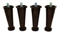 "Cecilware M172S Black Plastic Leg: 4 inches adjustable to 5 inches, 3/8""-16 Stud (Four Leg Pack)"